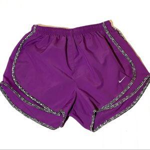 Nike athletic running shorts purple black white